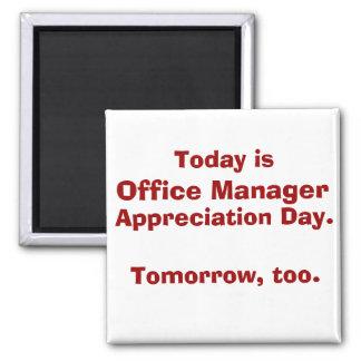 Día del aprecio del administrador de oficinas imán cuadrado