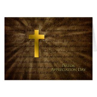 Día del aprecio del pastor - cruz cristiana del tarjeta de felicitación