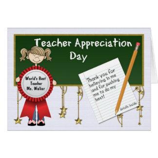 Día del aprecio del profesor personalizado tarjetas