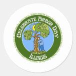 Día del árbol Illinois Etiquetas Redondas