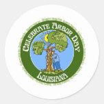 Día del árbol Luisiana Pegatinas Redondas