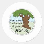 Día del árbol pegatina redonda