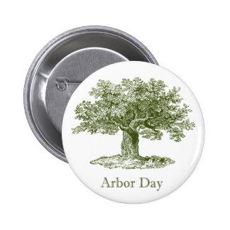 Día del árbol pin redondo de 2 pulgadas
