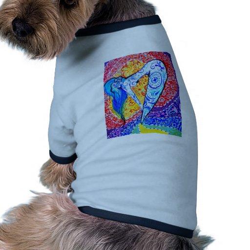 Día del arco iris de la sirena muerta camiseta con mangas para perro