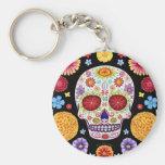 Día del arte muerto del cráneo del azúcar del llav llaveros personalizados