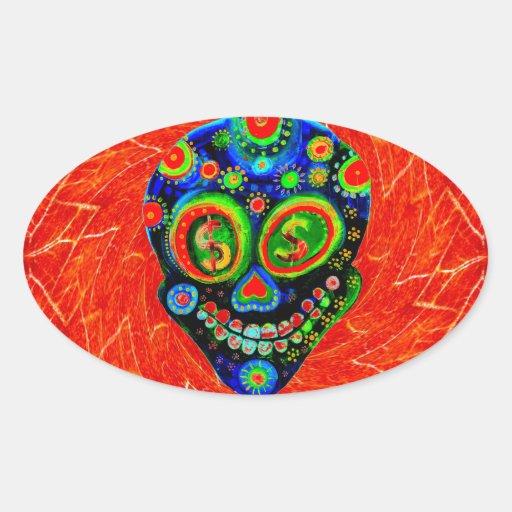 Día del arte muerto del cráneo del azúcar pegatina ovalada