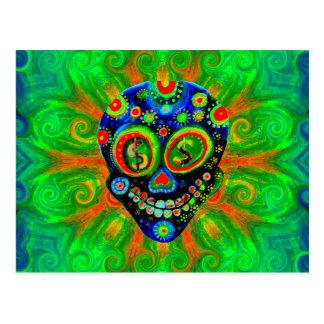 Día del arte muerto del cráneo del azúcar tarjetas postales