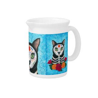 Día del arte muerto del gato del cráneo del azúcar jarras de beber