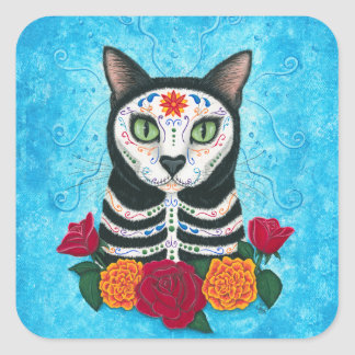 Día del arte muerto del gato del cráneo del azúcar pegatina cuadrada