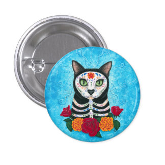 Día del arte muerto del gato del cráneo del azúcar pin redondo de 1 pulgada
