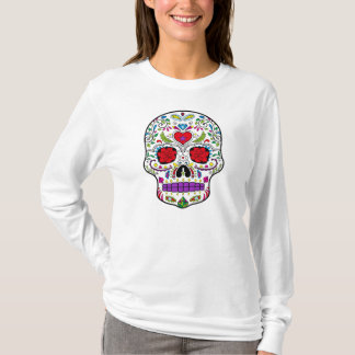 Día del azúcar muerto Skull Dia de los Muertos Playera