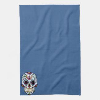 Día del azul muerto del cráneo del azúcar toallas