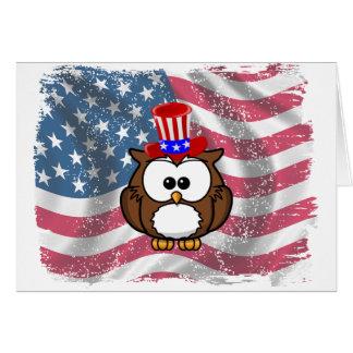 Día del búho de la independencia tarjeta de felicitación