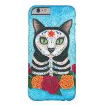 Día del caso muerto del iPhone 6 del arte del gato Funda Para iPhone 6 Barely There