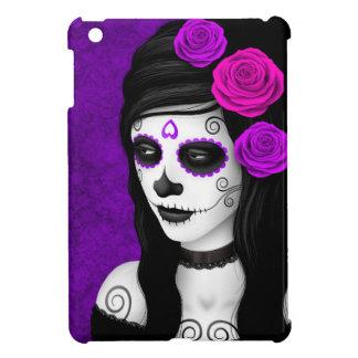 Día del chica muerto con los rosas púrpuras