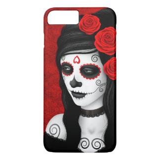 Día del chica muerto con los rosas rojos funda iPhone 7 plus