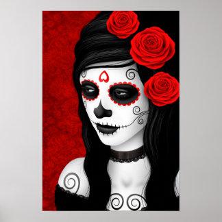 Día del chica muerto con los rosas rojos póster
