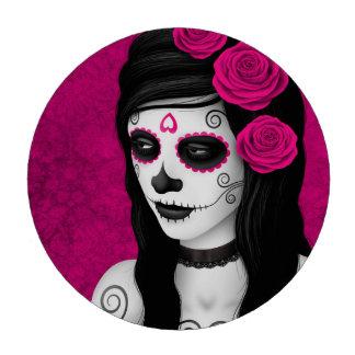 Día del chica muerto con los rosas rosados fichas de póquer
