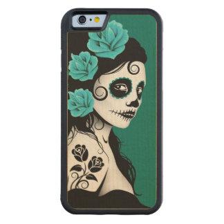 Día del chica muerto del cráneo del azúcar - azul funda de iPhone 6 bumper arce