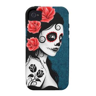 Día del chica muerto del cráneo del azúcar - azul iPhone 4 funda