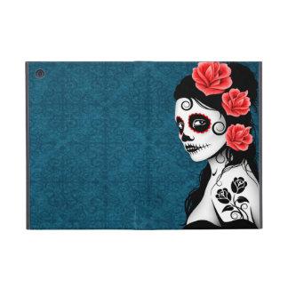 Día del chica muerto del cráneo del azúcar - azul iPad mini funda