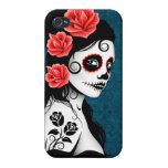 Día del chica muerto del cráneo del azúcar - azul iPhone 4/4S fundas
