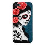 Día del chica muerto del cráneo del azúcar - azul iPhone 5 funda