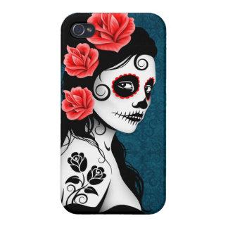 Día del chica muerto del cráneo del azúcar - azul iPhone 4/4S carcasas