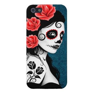 Día del chica muerto del cráneo del azúcar - azul iPhone 5 carcasa