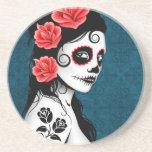 Día del chica muerto del cráneo del azúcar - azul posavasos personalizados