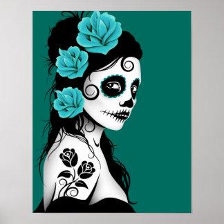 Día del chica muerto del cráneo del azúcar - azul  póster