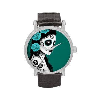 Día del chica muerto del cráneo del azúcar - azul relojes de pulsera