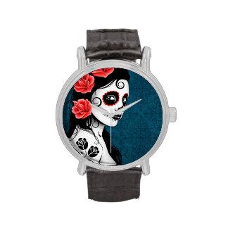 Día del chica muerto del cráneo del azúcar - azul reloj de mano