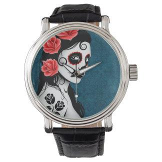 Día del chica muerto del cráneo del azúcar - azul relojes de mano