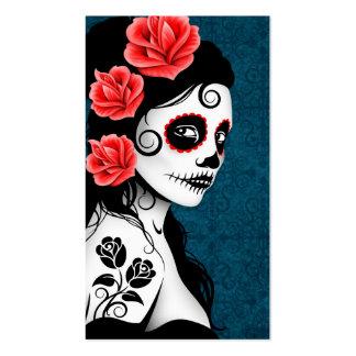 Día del chica muerto del cráneo del azúcar - azul tarjeta de visita