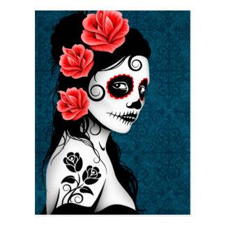 Día del chica muerto del cráneo del azúcar - azul tarjeta postal