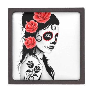 Día del chica muerto del cráneo del azúcar - blanc caja de recuerdo de calidad