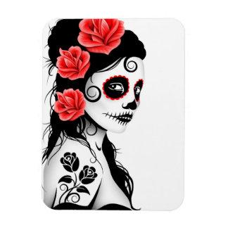 Día del chica muerto del cráneo del azúcar - blanc imanes