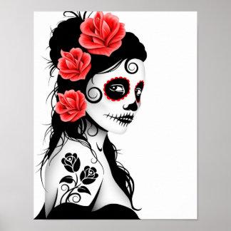 Día del chica muerto del cráneo del azúcar - blanc póster