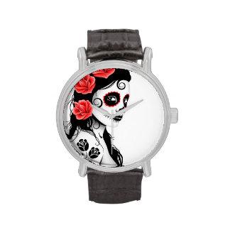 Día del chica muerto del cráneo del azúcar - blanc relojes de pulsera