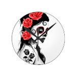 Día del chica muerto del cráneo del azúcar - blanc reloj de pared