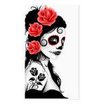 Día del chica muerto del cráneo del azúcar - blanc tarjetas de visita