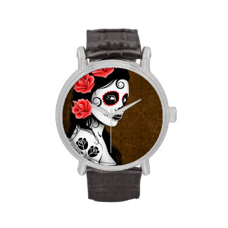 Día del chica muerto del cráneo del azúcar - Brown Relojes De Mano