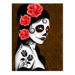 Día del chica muerto del cráneo del azúcar - Brown Postales