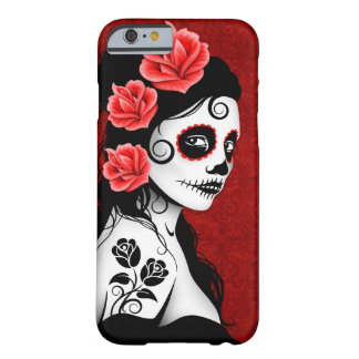 Día del chica muerto del cráneo del azúcar - de funda de iPhone 6 barely there
