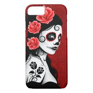 Día del chica muerto del cráneo del azúcar - de funda iPhone 7