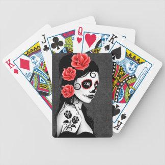 Día del chica muerto del cráneo del azúcar - gris barajas de cartas