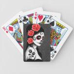 Día del chica muerto del cráneo del azúcar - gris baraja de cartas