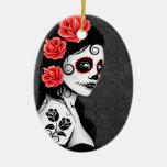 Día del chica muerto del cráneo del azúcar - gris ornaments para arbol de navidad