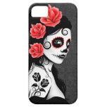 Día del chica muerto del cráneo del azúcar - gris iPhone 5 Case-Mate protectores